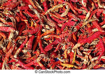 rojo, secó chiles, textura, plano de fondo