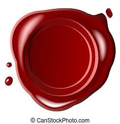 rojo, sello, cera, con, pequeño, gota, aislado, blanco, (jpg)
