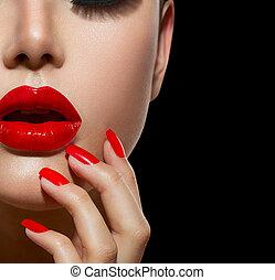 rojo, sexy, labios, y, clavos, closeup., manicura, y,...