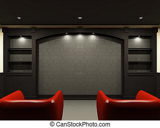 rojo, sillas, en, sala, con, emty, lugar, en, la pared