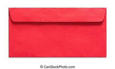 rojo, sobre, aislado, blanco, plano de fondo