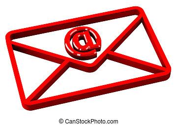 rojo, sobre, con, señal, e-mail