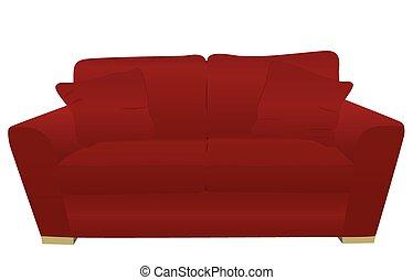 rojo, sofá