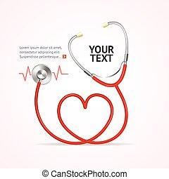 rojo, stethoscope., vector