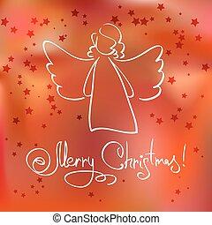 rojo, tarjeta de navidad, con, ángel, y, estrellas