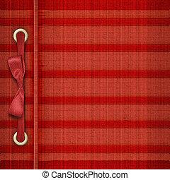 rojo, tartán, cubierta, para, álbum, con, cintas, y, arco