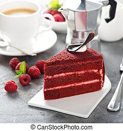 rojo, terciopelo, rebanada de pastel