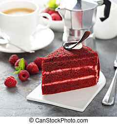 rojo, terciopelo, rebanada, pastel