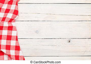 rojo, toalla, encima, de madera, tabla de cocina