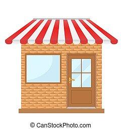 rojo, toldo, vector, ilustración, ventana, fachada, edificio, escaparate, tienda, puerta, acción