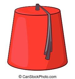 rojo, turco, fez, icono, caricatura, estilo