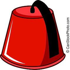 rojo, turco, fez, icono, plano, estilo