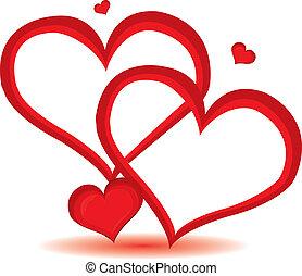 rojo, valentine, día, corazón, fondo., vector, illustration.