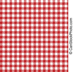 rojo, vector, a cuadros, picnic, tela