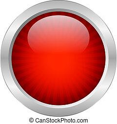rojo, vector, botón
