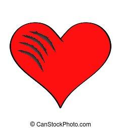 rojo, vector, catroon, ilustración, símbolo, rasguños, ...