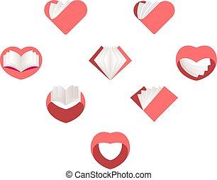 rojo, vector, corazones, set., colección, de, amor, images.,...
