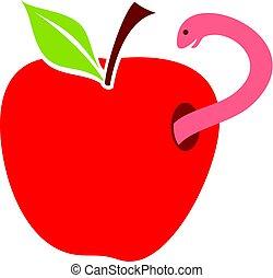 rojo, vector, manzana, ilustración, gusano