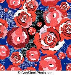 rojo, vector, rosas, patrón, brillante