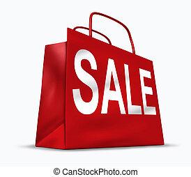 rojo, venta, bolso de compras