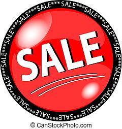 rojo, venta, botón