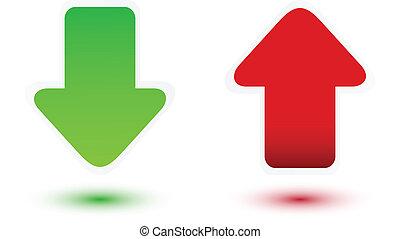 rojo verde, flecha
