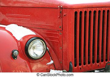 rojo, viejo, coche