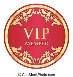 rojo, vip, miembro, insignia, con, dorado, vendimia, patrón