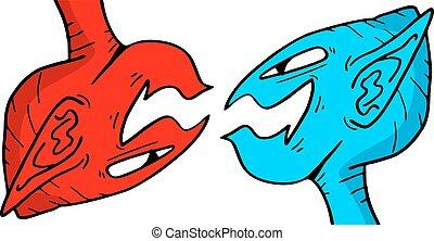 rojo, y azul, fantasía, caras