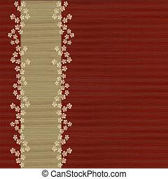 rojo, y, bamboo/grass, plano de fondo, con, flores
