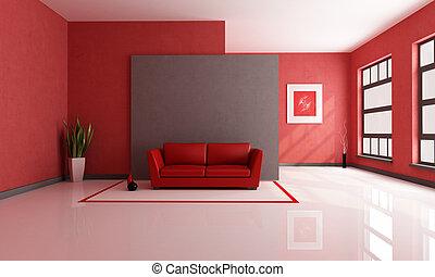 rojo, y, marrón, salón