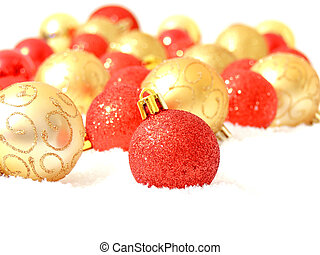 rojo, y, oro, navidad, pelotas