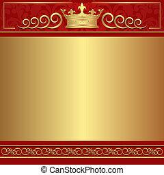 rojo, y, oro, plano de fondo
