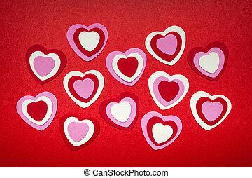 rojo, y, rosa, día de valentines, corazones