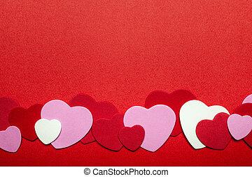 rojo, y, rosa, día de valentines, corazones, plano de fondo