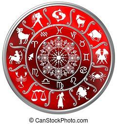 rojo, zodíaco, disco, con, señales, y, símbolos