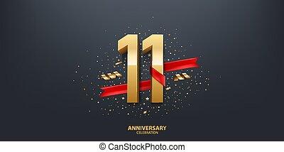 rok, 11, tło, rocznica