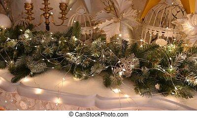 rok, drzewo, nowy, zabawki, boże narodzenie, lights., ...