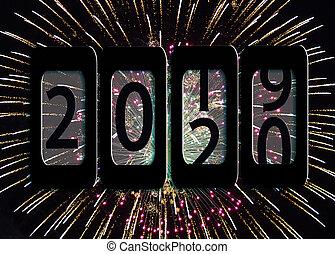 rok, fajerwerki, 2020, nowy, odometr