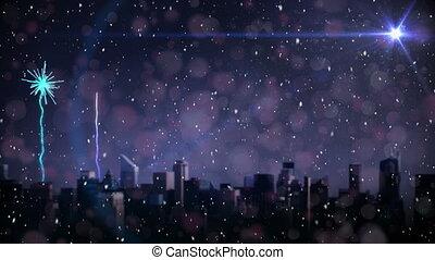 rok, noc, nowy, fajerwerki, wigilia