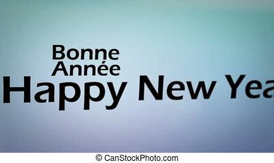 rok, nowy, kilka, języki, szczęśliwy
