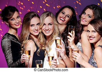 rok, nowy, partia, przyjaciele, posiadanie, najlepszy
