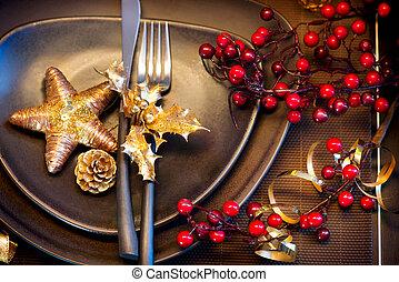 rok, nowy, stół, setting., święto, gwiazdkowe celebrowanie