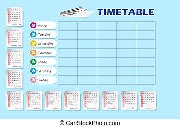 rok, okrętowy, 2019, czysty, timetable, kalendarz, tygodnik