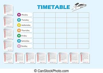rok, pociąg, 2019, czysty, timetable, kalendarz, tygodnik