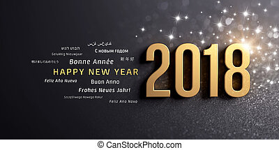 rok, powitanie, 2018, międzynarodowy, nowy, karta, szczęśliwy