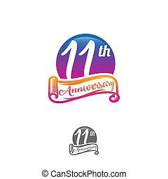 rok, wektor, urodziny, label., logo., 11, abstrakcyjny, ...