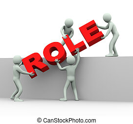 rol, concept, -, 3d, mensen