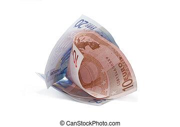 rolado, 2, contas, euro