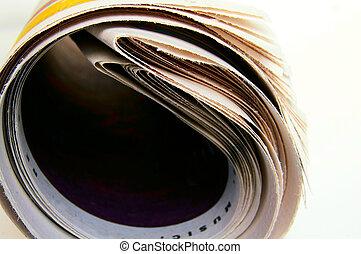 rolado, branca, closeup, cima, jornal